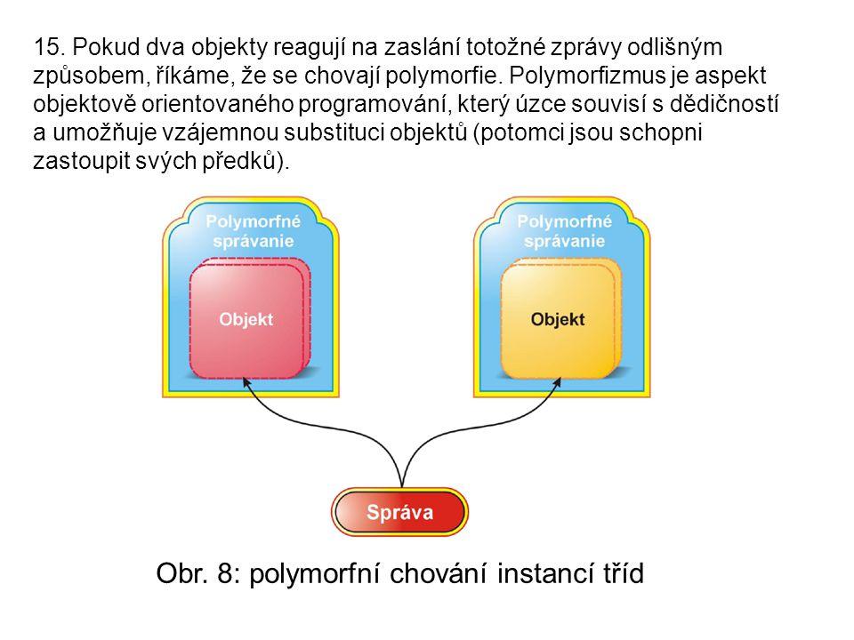 15. Pokud dva objekty reagují na zaslání totožné zprávy odlišným způsobem, říkáme, že se chovají polymorfie. Polymorfizmus je aspekt objektově oriento
