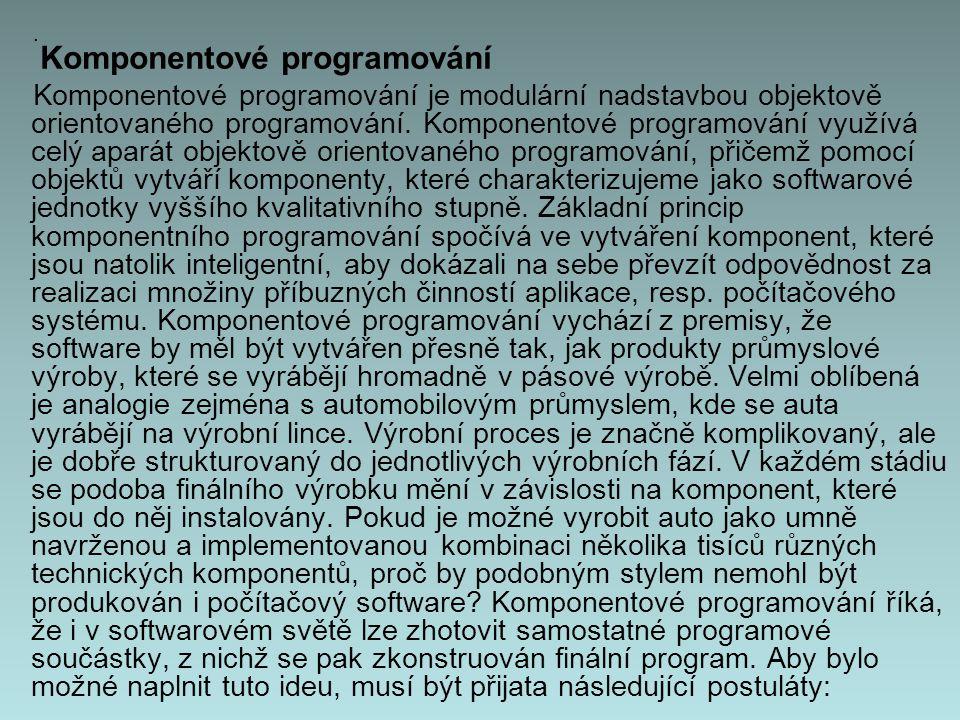Komponentové programování Komponentové programování je modulární nadstavbou objektově orientovaného programování.