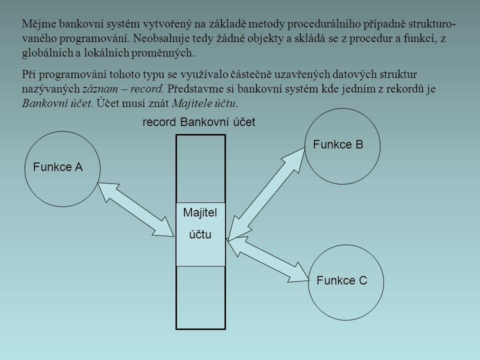 Mějme bankovní systém vytvořený na základě metody procedurálního případně strukturo- vaného programování.