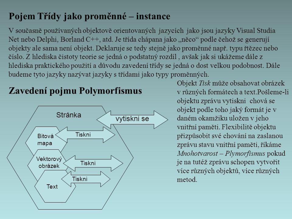 Pojem Třídy jako proměnné – instance V současně používaných objektově orientovaných jazycích jako jsou jazyky Visual Studia Net nebo Delphi, Borland C++, atd.