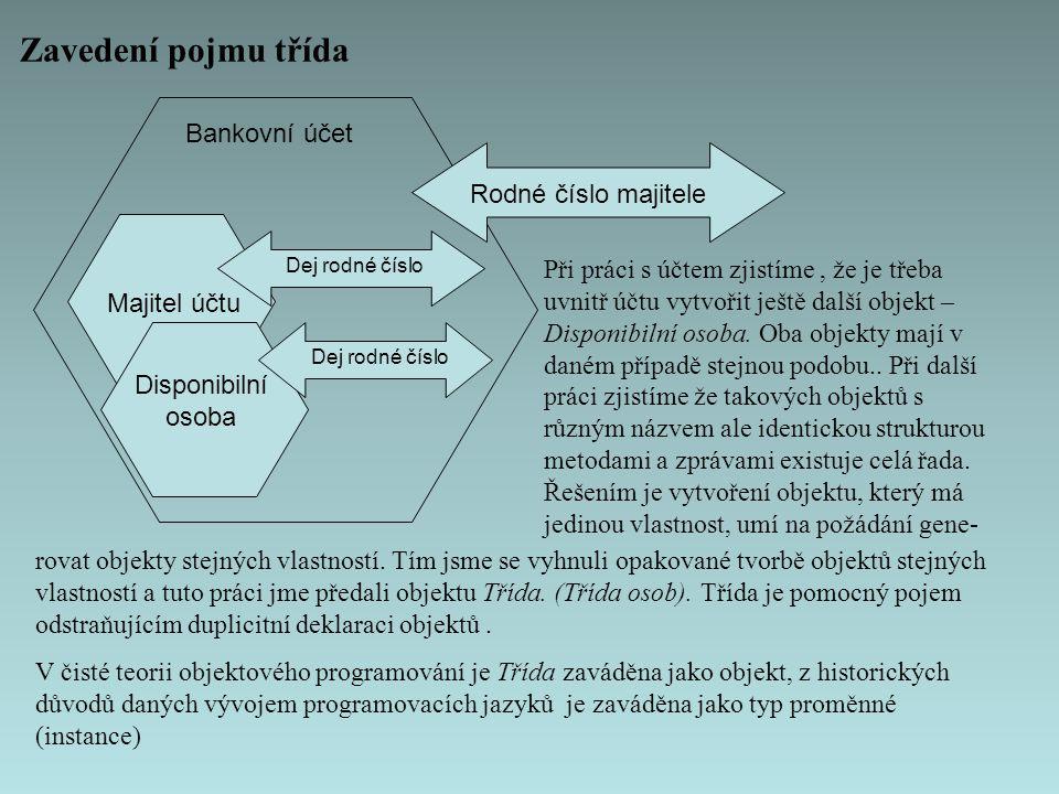 Zavedení pojmu třída Bankovní účet Rodné číslo majitele Majitel účtu Dej rodné číslo Disponibilní osoba Dej rodné číslo Při práci s účtem zjistíme, že je třeba uvnitř účtu vytvořit ještě další objekt – Disponibilní osoba.