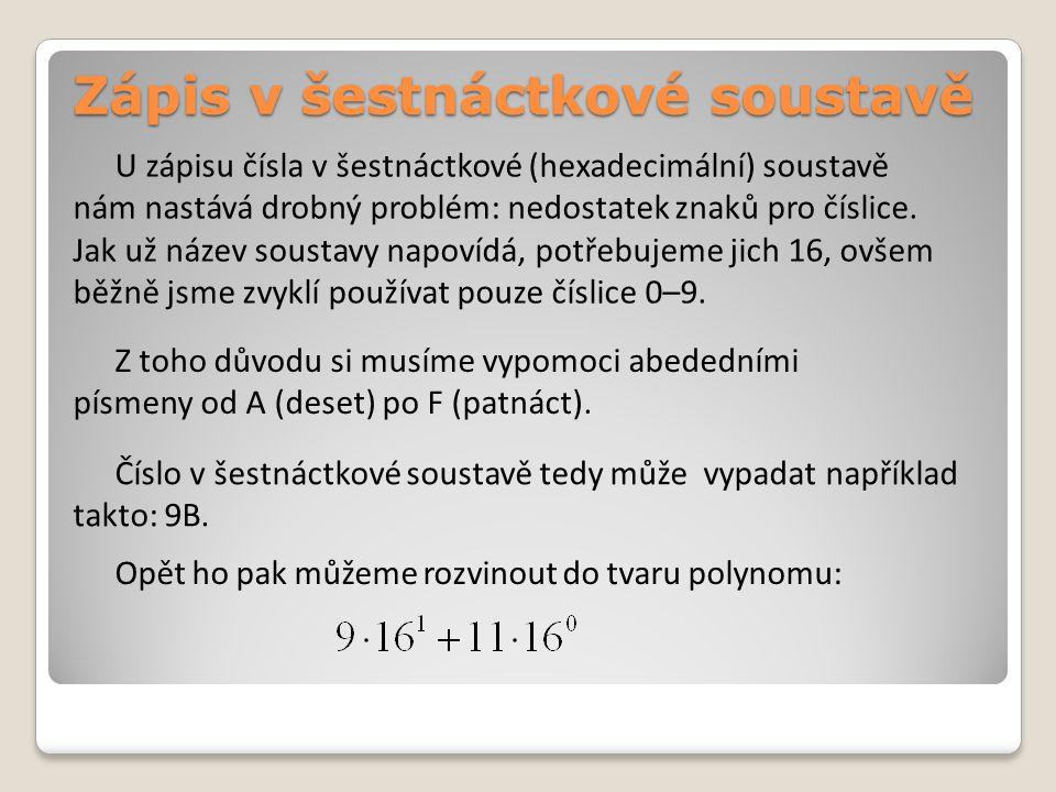 Zápis v šestnáctkové soustavě U zápisu čísla v šestnáctkové (hexadecimální) soustavě nám nastává drobný problém: nedostatek znaků pro číslice.