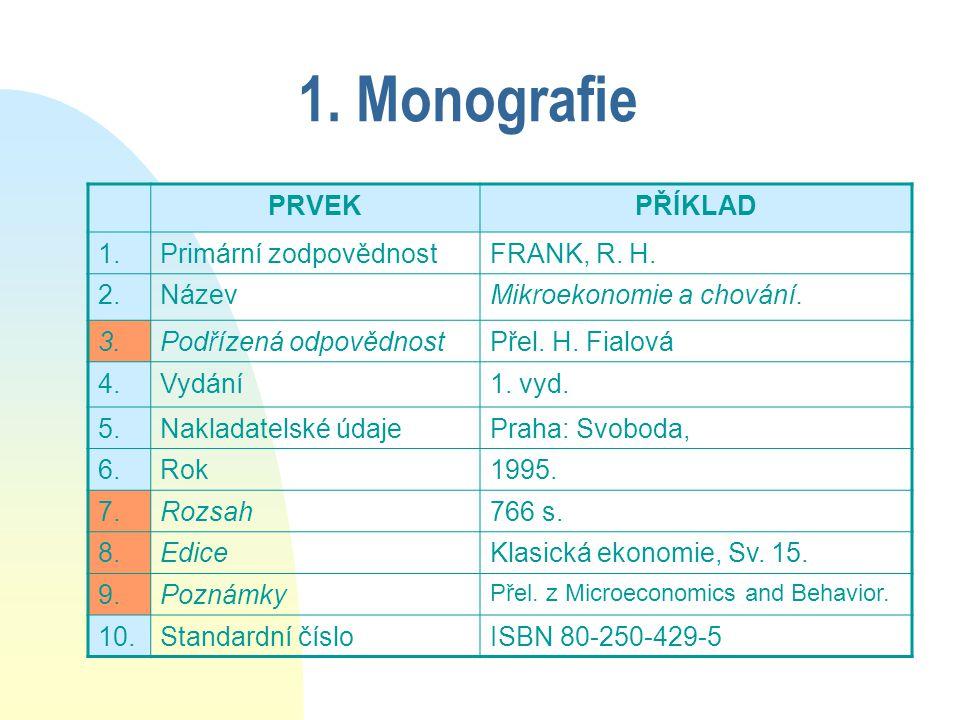 1. Monografie PRVEKPŘÍKLAD 1.Primární zodpovědnostFRANK, R.