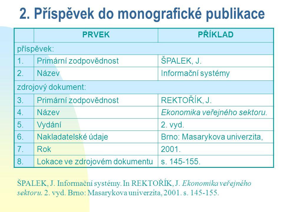 2. Příspěvek do monografické publikace PRVEKPŘÍKLAD příspěvek: 1.Primární zodpovědnostŠPALEK, J.