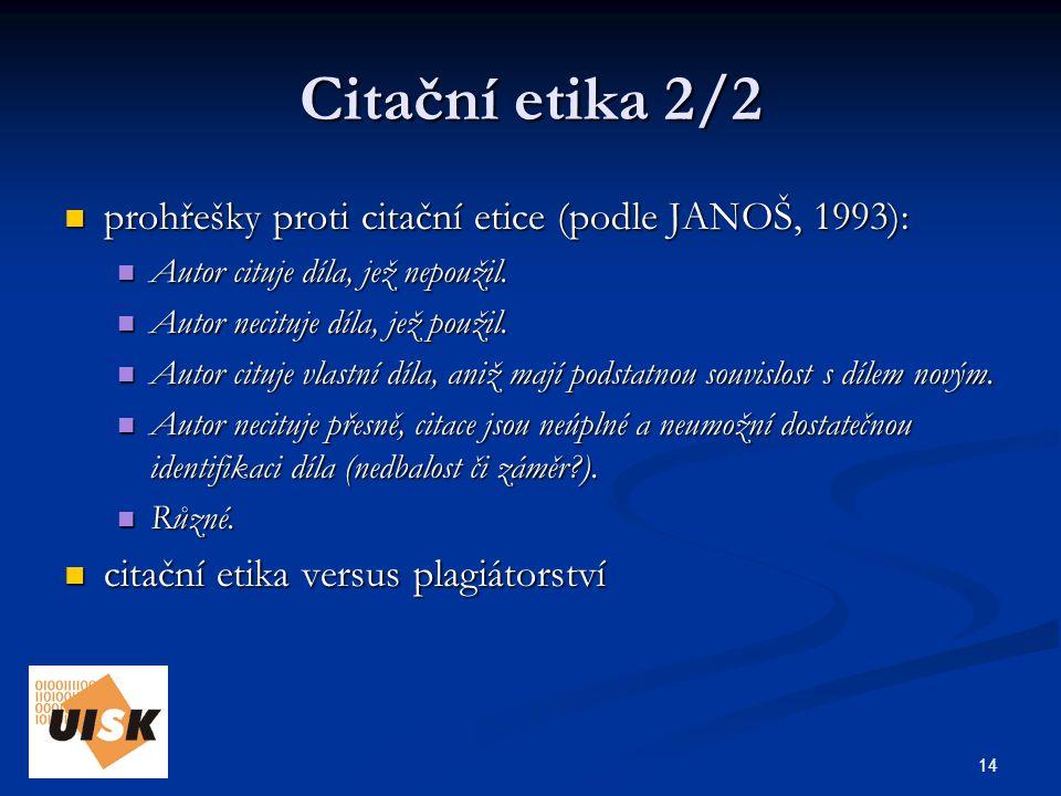 14 Citační etika 2/2 prohřešky proti citační etice (podle JANOŠ, 1993): prohřešky proti citační etice (podle JANOŠ, 1993): Autor cituje díla, jež nepoužil.