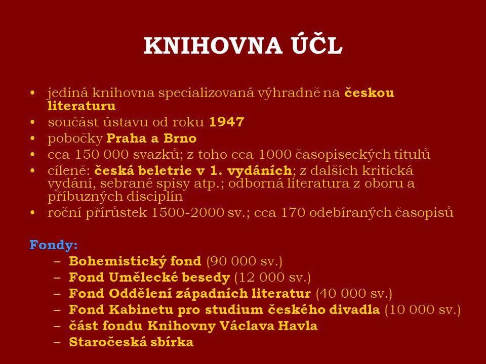 KNIHOVNA ÚČL jediná knihovna specializovaná výhradně na českou literaturu součást ústavu od roku 1947 pobočky Praha a Brno cca 150 000 svazků; z toho
