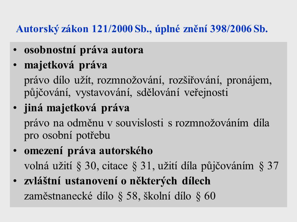 Autorský zákon 121/2000 Sb., úplné znění 398/2006 Sb. osobnostní práva autora majetková práva právo dílo užít, rozmnožování, rozšiřování, pronájem, pů