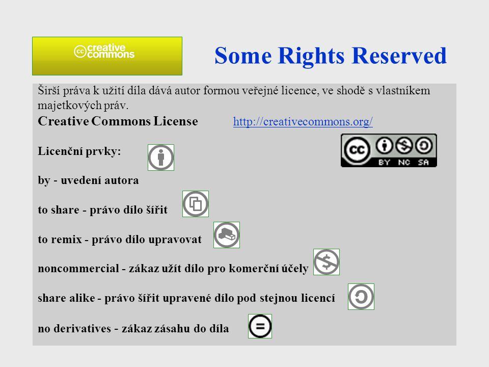 Some Rights Reserved Širší práva k užití díla dává autor formou veřejné licence, ve shodě s vlastníkem majetkových práv. Creative Commons License http