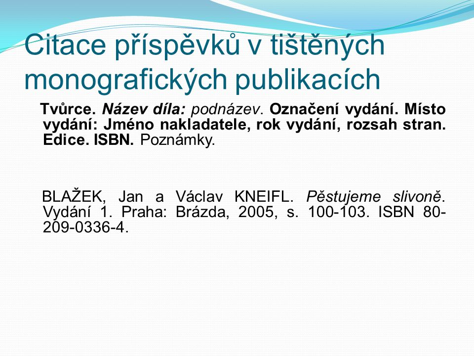 Citace příspěvků v tištěných monografických publikacích Tvůrce.