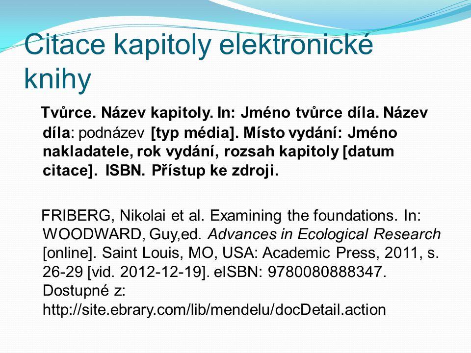 Citace kapitoly elektronické knihy Tvůrce.Název kapitoly.