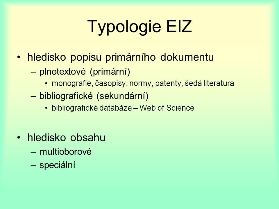 Typologie EIZ hledisko popisu primárního dokumentu –plnotextové (primární) monografie, časopisy, normy, patenty, šedá literatura –bibliografické (sekundární) bibliografické databáze – Web of Science hledisko obsahu –multioborové –speciální