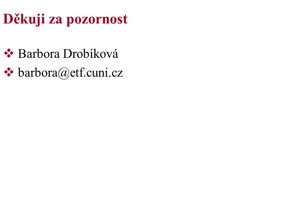 Děkuji za pozornost  Barbora Drobíková  barbora@etf.cuni.cz
