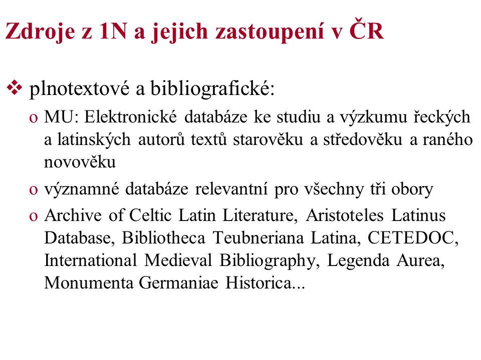 Zdroje z 1N a jejich zastoupení v ČR  plnotextové a bibliografické: oMU: Elektronické databáze ke studiu a výzkumu řeckých a latinských autorů textů