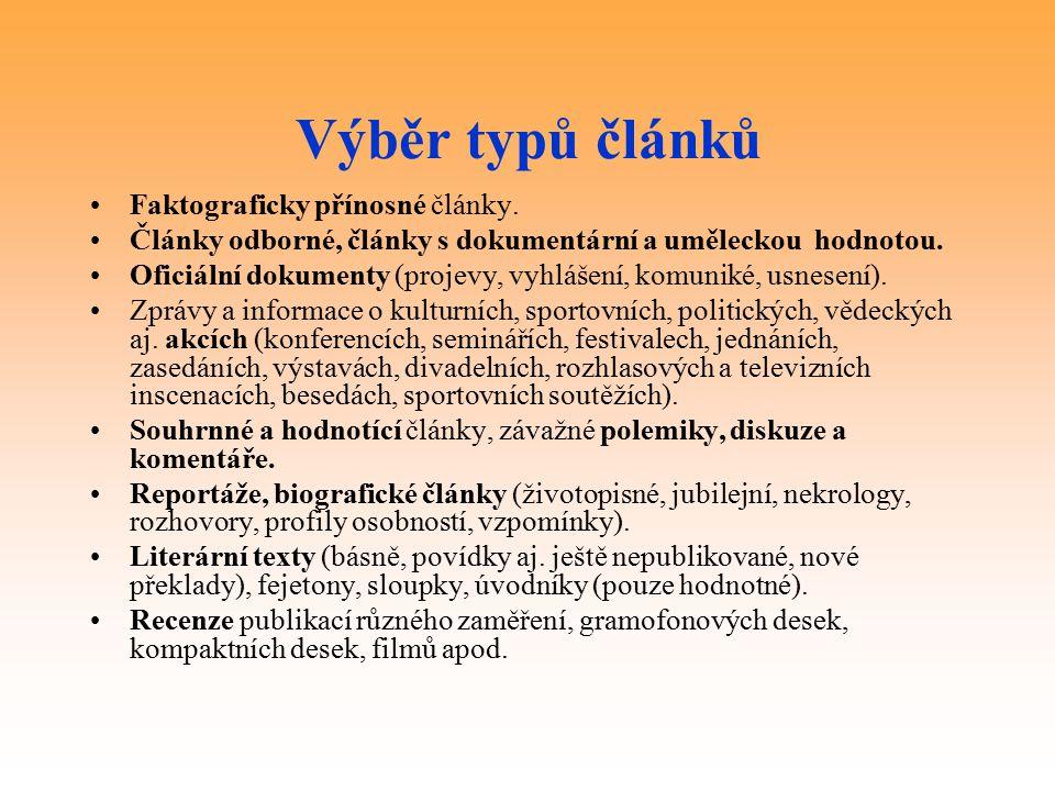 Výběr typů článků Faktograficky přínosné články.