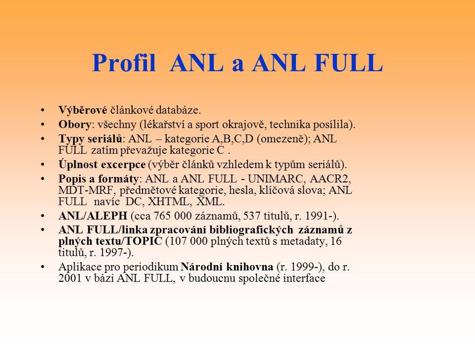 Profil ANL a ANL FULL Výběrové článkové databáze.