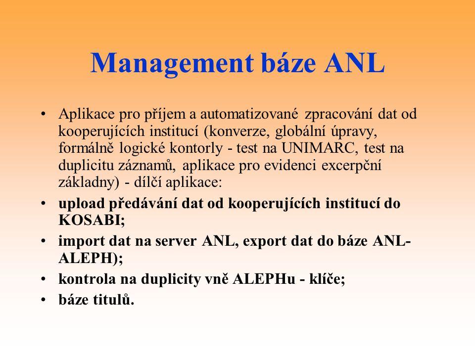 Management báze ANL Aplikace pro příjem a automatizované zpracování dat od kooperujících institucí (konverze, globální úpravy, formálně logické kontorly - test na UNIMARC, test na duplicitu záznamů, aplikace pro evidenci excerpční základny) - dílčí aplikace: upload předávání dat od kooperujících institucí do KOSABI; import dat na server ANL, export dat do báze ANL- ALEPH); kontrola na duplicity vně ALEPHu - klíče; báze titulů.