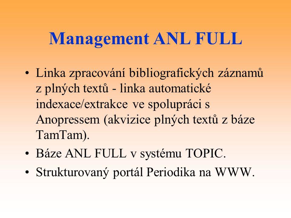 Management ANL FULL Linka zpracování bibliografických záznamů z plných textů - linka automatické indexace/extrakce ve spolupráci s Anopressem (akvizice plných textů z báze TamTam).