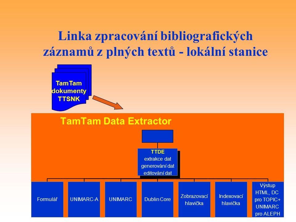 Linka zpracování bibliografických záznamů z plných textů - lokální stanice TamTam dokumenty TTSNK TamTam Data Extractor