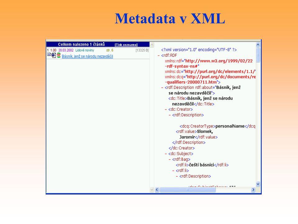 Metadata v XML