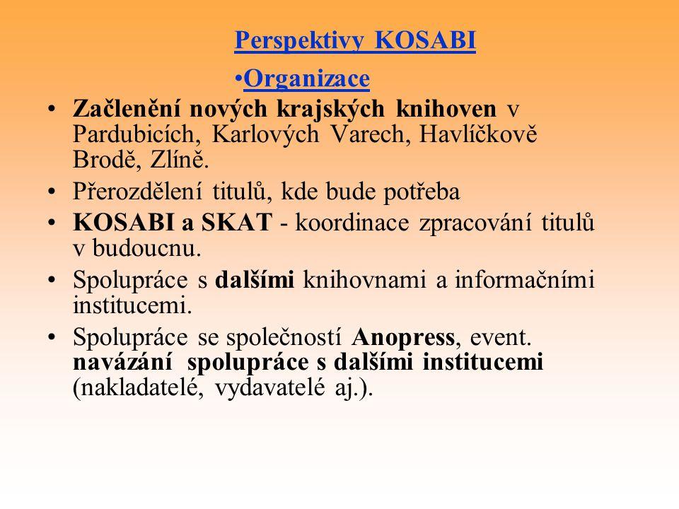 Začlenění nových krajských knihoven v Pardubicích, Karlových Varech, Havlíčkově Brodě, Zlíně.