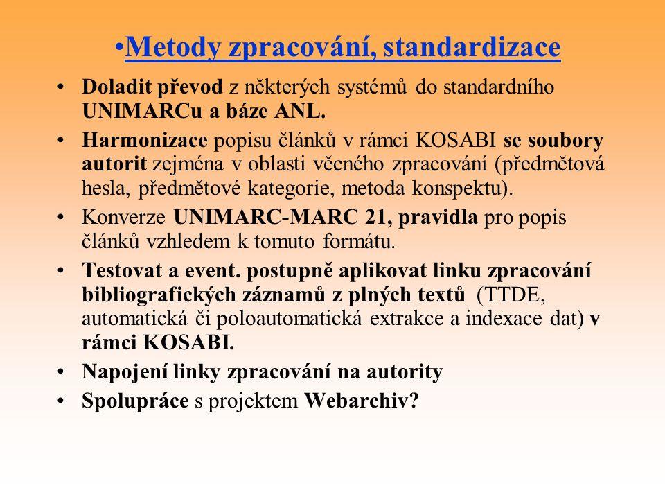 Doladit převod z některých systémů do standardního UNIMARCu a báze ANL.