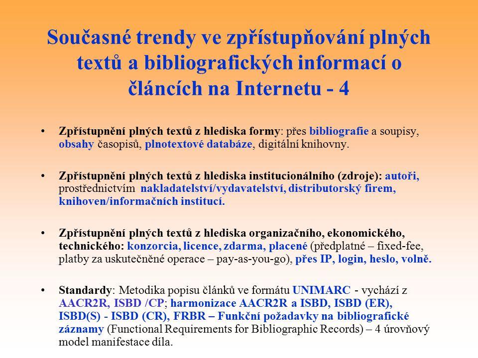Současné trendy ve zpřístupňování plných textů a bibliografických informací o článcích na Internetu - 4 Zpřístupnění plných textů z hlediska formy: přes bibliografie a soupisy, obsahy časopisů, plnotextové databáze, digitální knihovny.