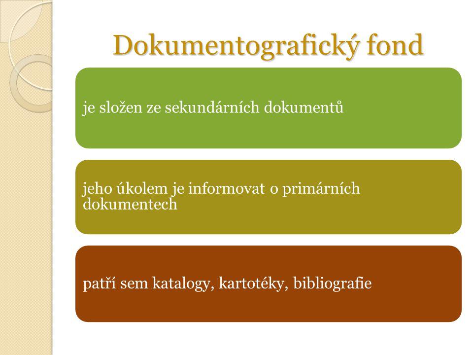 Dokumentografický fond je složen ze sekundárních dokumentů jeho úkolem je informovat o primárních dokumentech patří sem katalogy, kartotéky, bibliografie