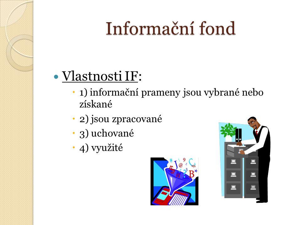 Informační fond Vlastnosti IF:  1) informační prameny jsou vybrané nebo získané  2) jsou zpracované  3) uchované  4) využité