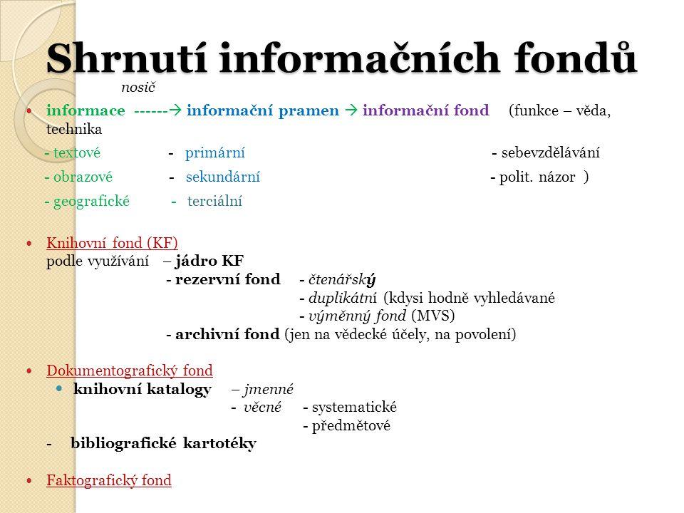 Shrnutí informačních fondů nosič informace ------  informační pramen  informační fond (funkce – věda, technika - textové - primární - sebevzdělávání - obrazové - sekundární - polit.