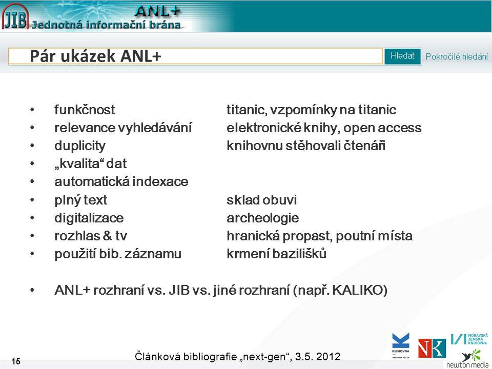 """15 Článková bibliografie """"next-gen , 3.5."""