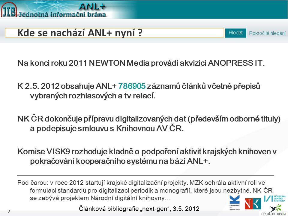 """8 Článková bibliografie """"next-gen , 3.5. 2012 Technické okénko Odkud se data berou."""