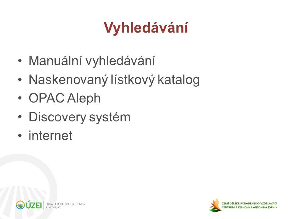 Manuální vyhledávání Naskenovaný lístkový katalog OPAC Aleph Discovery systém internet