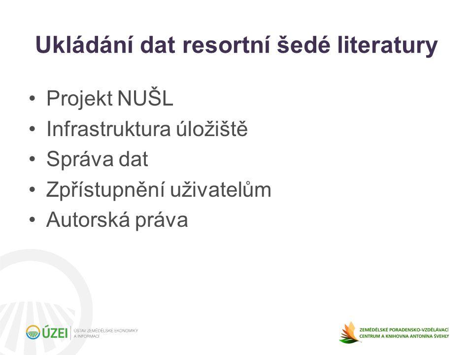 Ukládání dat resortní šedé literatury Projekt NUŠL Infrastruktura úložiště Správa dat Zpřístupnění uživatelům Autorská práva