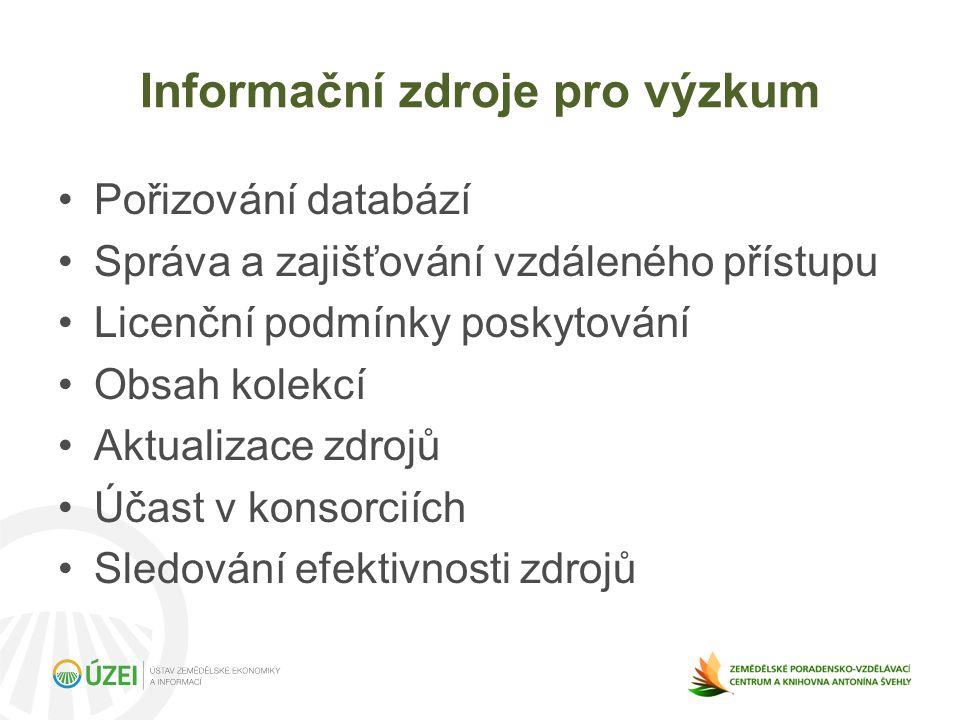 Informační zdroje pro výzkum Pořizování databází Správa a zajišťování vzdáleného přístupu Licenční podmínky poskytování Obsah kolekcí Aktualizace zdrojů Účast v konsorciích Sledování efektivnosti zdrojů