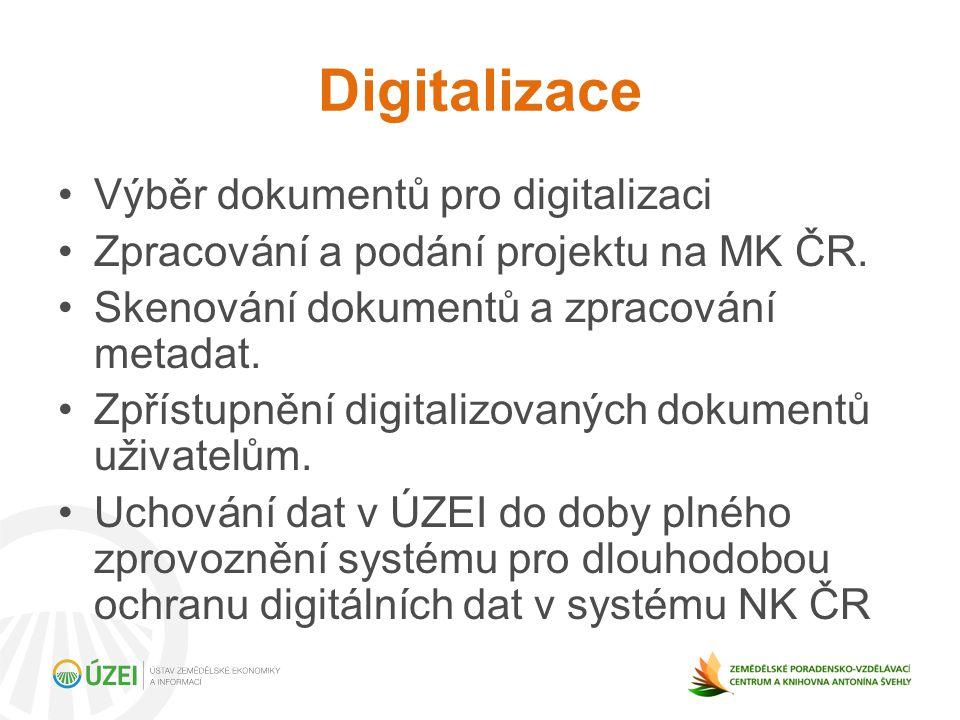 Digitalizace Výběr dokumentů pro digitalizaci Zpracování a podání projektu na MK ČR.