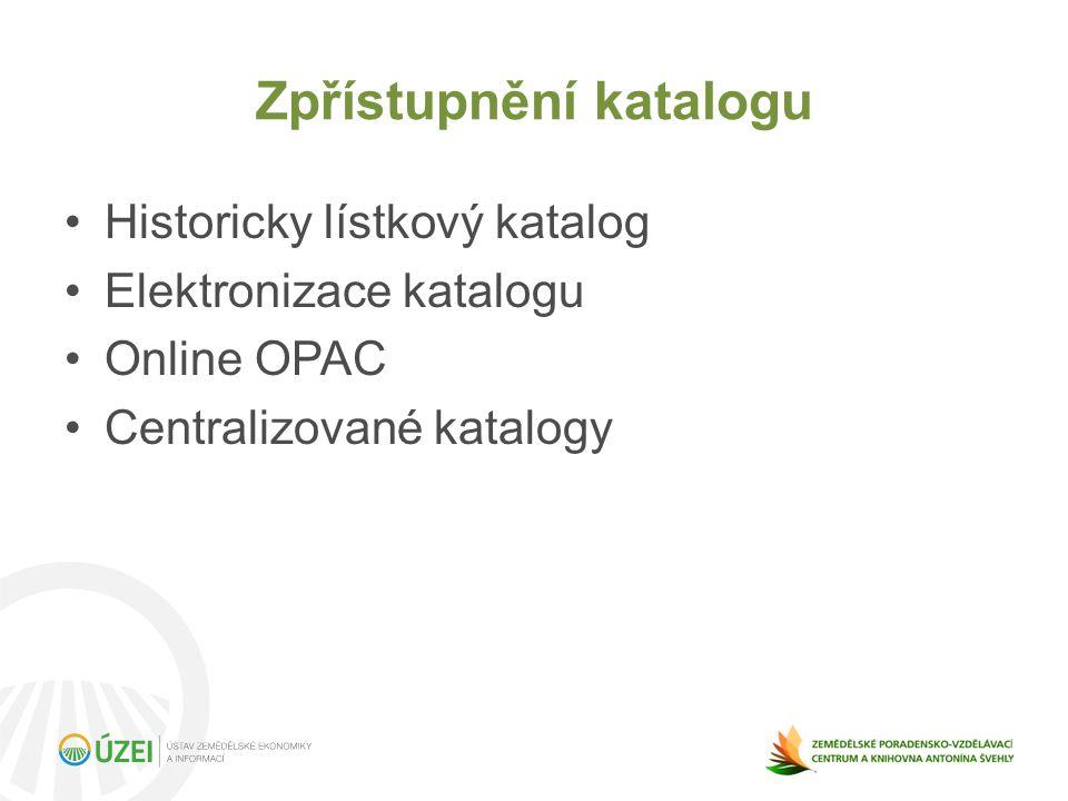 Zpřístupnění katalogu Historicky lístkový katalog Elektronizace katalogu Online OPAC Centralizované katalogy