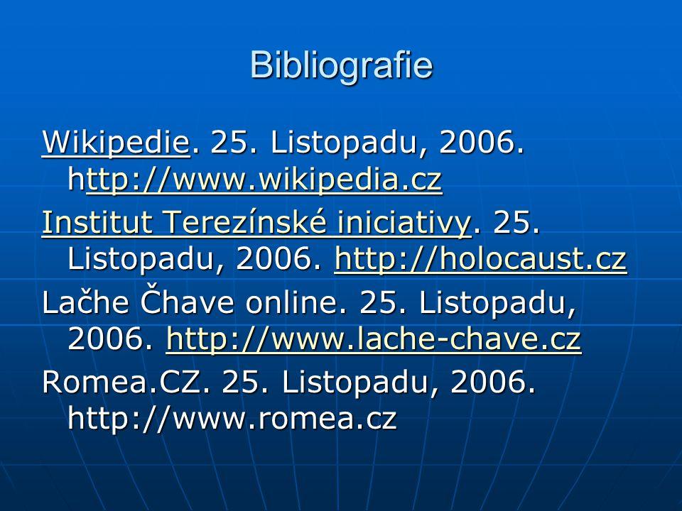 Bibliografie Wikipedie. 25. Listopadu, 2006. http://www.wikipedia.cz ttp://www.wikipedia.cz Institut Terezínské iniciativyInstitut Terezínské iniciati