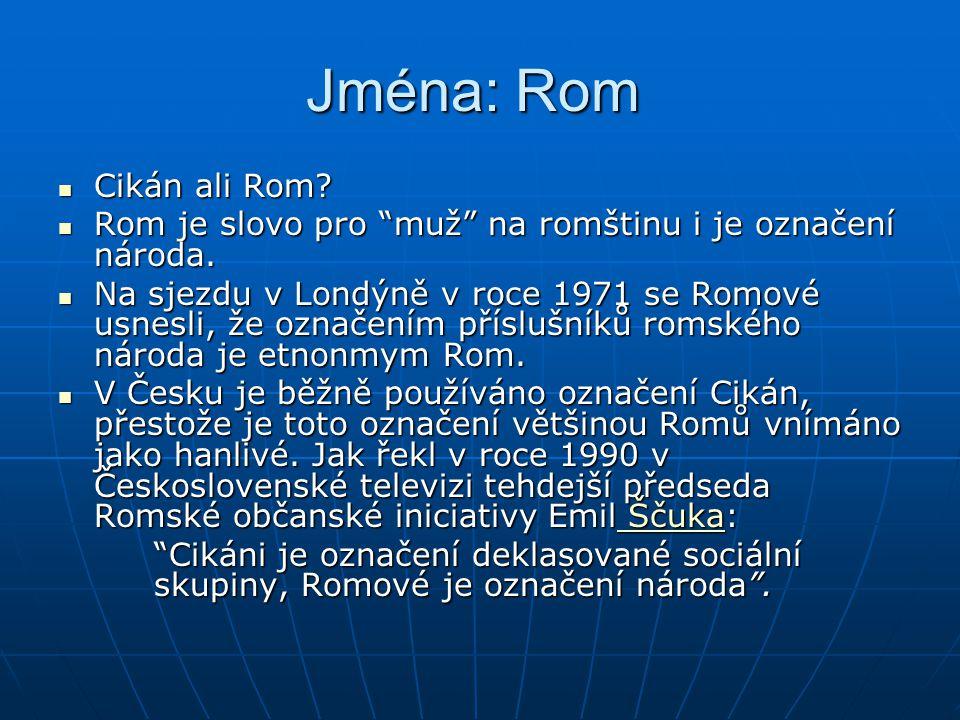 """Jména: Rom Jména: Rom Cikán ali Rom? Cikán ali Rom? Rom je slovo pro """"muž"""" na romštinu i je označení národa. Rom je slovo pro """"muž"""" na romštinu i je o"""