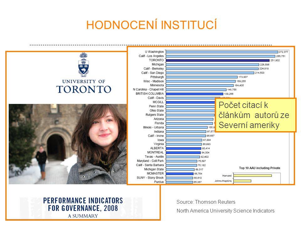 HODNOCENÍ INSTITUCÍ Source: Thomson Reuters North America University Science Indicators Počet citací k článkům autorů ze Severní ameriky