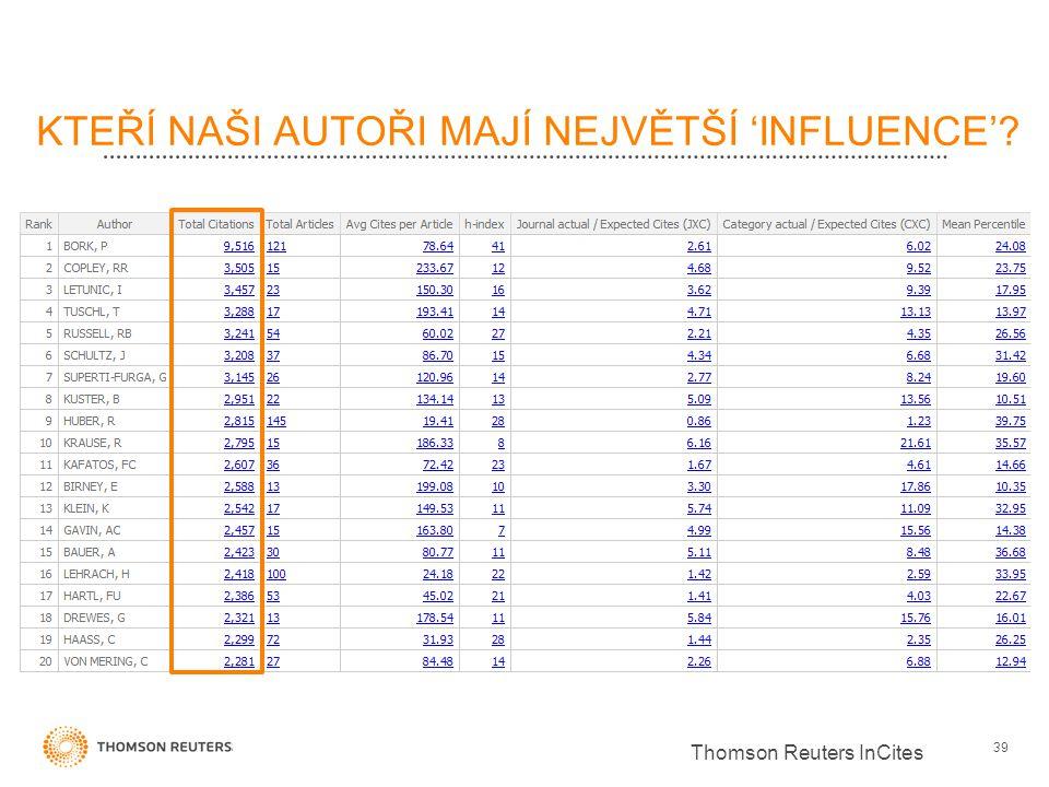 KTEŘÍ NAŠI AUTOŘI MAJÍ NEJVĚTŠÍ 'INFLUENCE'? 39 Thomson Reuters InCites