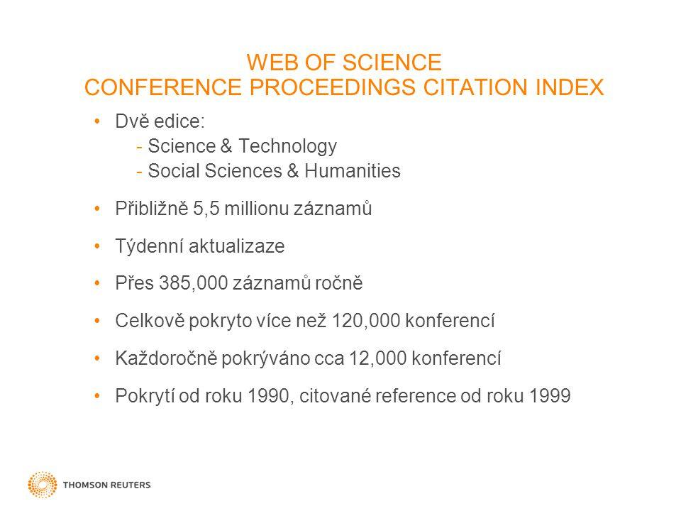 Dvě edice: - Science & Technology - Social Sciences & Humanities Přibližně 5,5 millionu záznamů Týdenní aktualizaze Přes 385,000 záznamů ročně Celkově pokryto více než 120,000 konferencí Každoročně pokrýváno cca 12,000 konferencí Pokrytí od roku 1990, citované reference od roku 1999 WEB OF SCIENCE CONFERENCE PROCEEDINGS CITATION INDEX