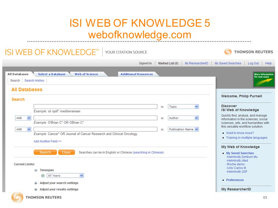 ISI WEB OF KNOWLEDGE 5 webofknowledge.com 65