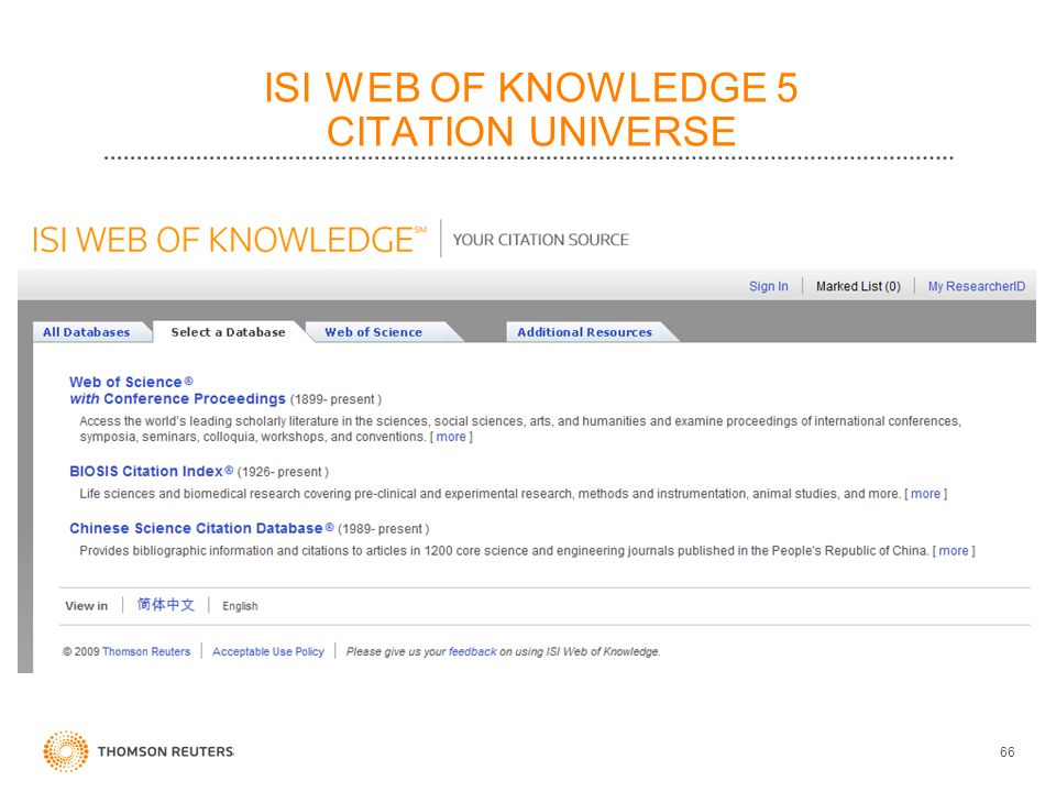 ISI WEB OF KNOWLEDGE 5 CITATION UNIVERSE 66