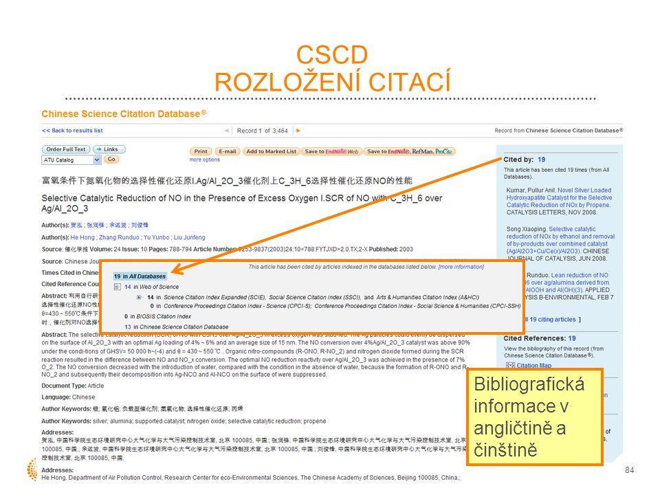CSCD ROZLOŽENÍ CITACÍ 84 Bibliografická informace v angličtině a činštině