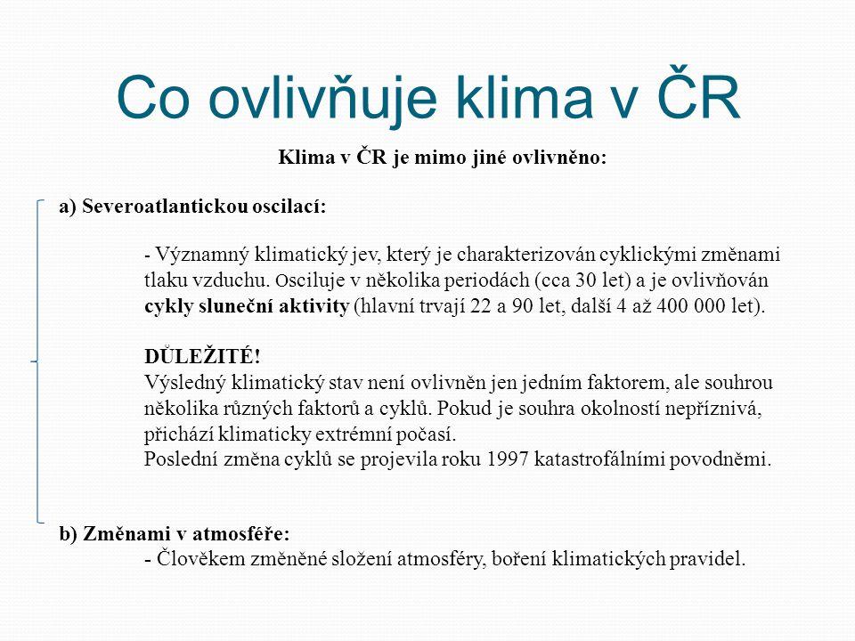 Co ovlivňuje klima v ČR Klima v ČR je mimo jiné ovlivněno: a) Severoatlantickou oscilací: - Významný klimatický jev, který je charakterizován cyklický