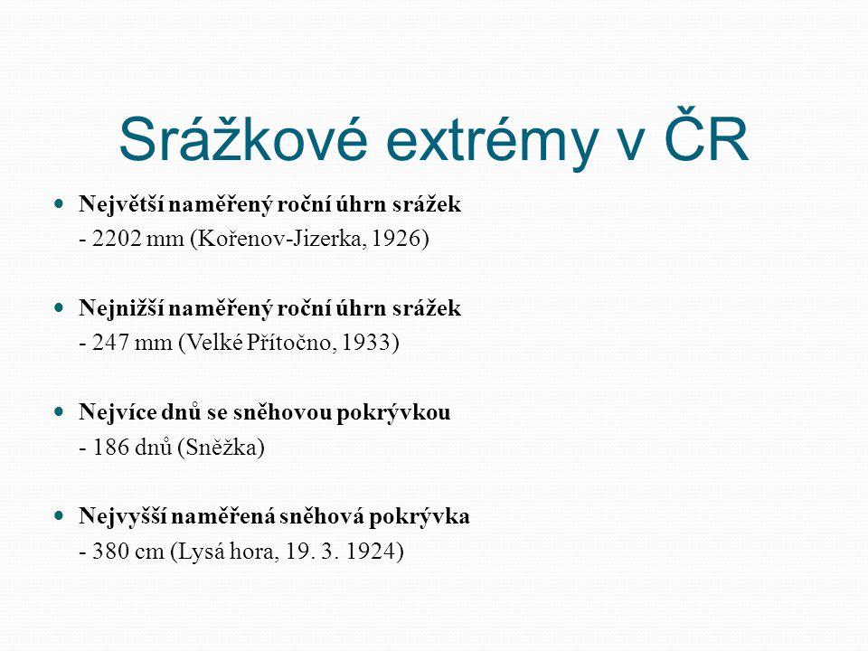 Srážkové extrémy v ČR Největší naměřený roční úhrn srážek - 2202 mm (Kořenov-Jizerka, 1926) Nejnižší naměřený roční úhrn srážek - 247 mm (Velké Přítoč