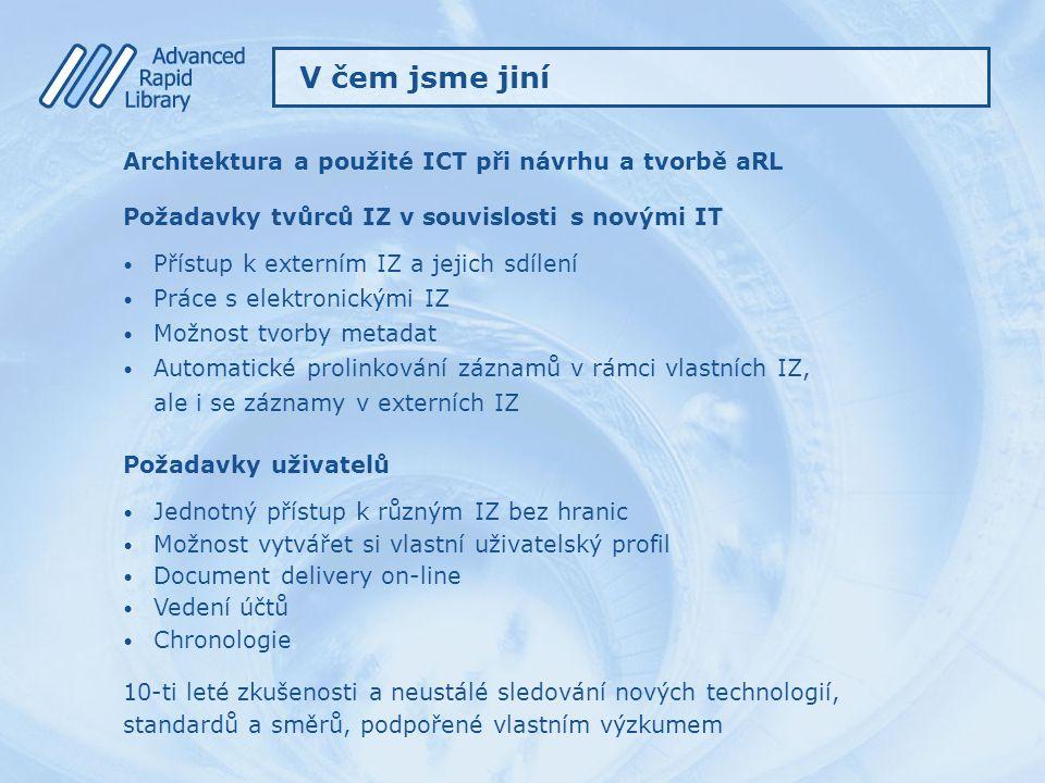 Architektura a použité ICT při návrhu a tvorbě aRL Požadavky tvůrců IZ v souvislosti s novými IT Přístup k externím IZ a jejich sdílení Práce s elektr