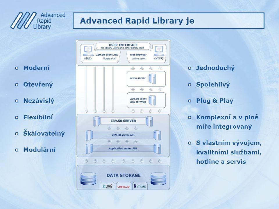 Advanced Rapid Library je Moderní Otevřený Nezávislý Flexibilní Škálovatelný Modulární Jednoduchý Spolehlivý Plug & Play Komplexní a v plné míře integ