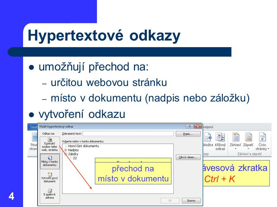 44 Hypertextové odkazy umožňují přechod na: – určitou webovou stránku – místo v dokumentu (nadpis nebo záložku) vytvoření odkazu přechod na odkaz – kl