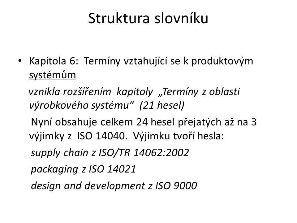 """Struktura slovníku Kapitola 6: Termíny vztahující se k produktovým systémům vznikla rozšířením kapitoly """"Termíny z oblasti výrobkového systému"""" (21 he"""